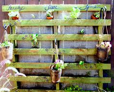 One More Time: Pallet Herb Garden -Gonna try a smaller pallet and smaller hanging pots to have this on my balcony.
