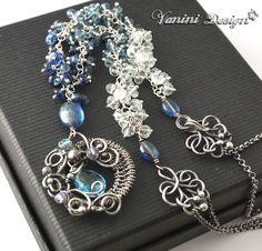 Mermaid-Swiss Blue Topaz,Kyanite,Teal Blue Mystic Quartz,aquamarine,Fine999/sterling silver Necklace.