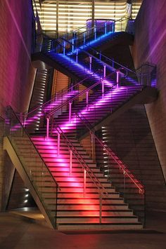 Rainbow stairs in Liverpool Center The stair has a colorful ground, I didn't edit the picture . its directly from the Camera Magnificent Liverpool Stair Lighting, Neon Lighting, Interior Lighting, Lighting Design, Pompe A Essence, Nightclub Design, Beautiful Stairs, Stair Steps, Stairway To Heaven