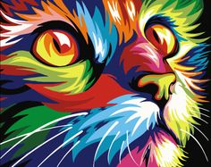 Oil pait painting by s picture drawig coloring by s o canvas painting by h paited colorful cat