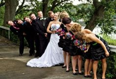 This picture is awesome.  Love the multi-colored bouquets and bowties!