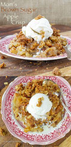 Mom's Brown Sugar Apple Crisp   An easy, family recipe for the best apple crisp! Try it for dessert tonight!