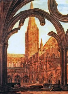 Joseph Mallord William Turner  South View from the Cloisters, Salisbury Cathedral,1802