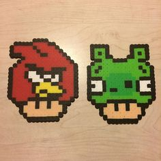 Agry Birds mushrooms perler beads by awesomeangela13