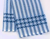 Tea Towel Handwoven Blue Pinwheels