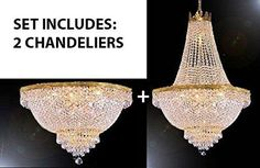 """Set Of 2 - French Empire Crystal Chandelier Lighting H30"""" X W24"""" + French Empire Crystal Semi Flush Chandeliers Lighting H18"""" X W24"""" - Foyer, Hallway, Bedroom, Kitchen- Works For All Locations ! - 1Eaa93-870/9+1Eaa93-Flush/870/9"""