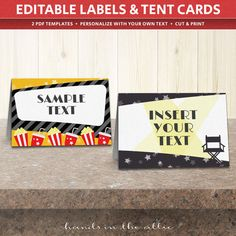 Movie party labels food tent cards editable TEMPLATE printable party DIY labels kids film night party  sc 1 st  Pinterest & Movie party labels food tent cards editable TEMPLATE printable ...
