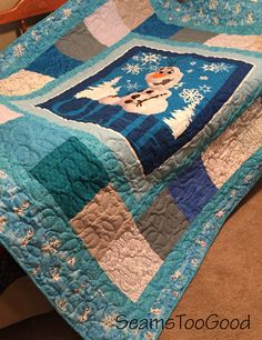 Disneys Frozen - Olaf Twin Quilt PRICE REDUCTION From $230.00 to $195.00 This precious Olaf quilt measures 68 wide X 83.5 long completed. Made with