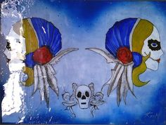 """""""Dos Mujeres - Azul""""   Original Study   Mixed Media, Distressed Paper, Lacquer on Canvas   24"""" x 18"""""""