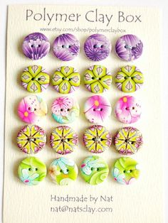 polymer clay buttons from Nat at polymerclaybox on Etsy
