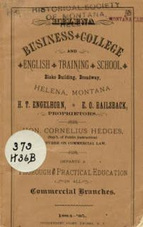 1884 catalog of Helena Business College and English Training School; the institution was founded the preceding year in 1883