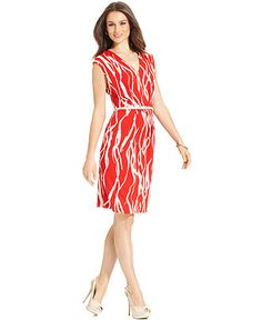 Jones New York Dress, Sleeveless Printed Belted Sheath - Womens Dresses - Macy's