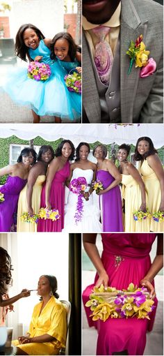 """Fuchsia, yellow and turquoise as the primary """"splashes of color"""" - what a fun, colorful wedding!"""