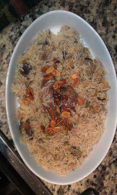 Lebanese makloube rice, lamb, eggplant