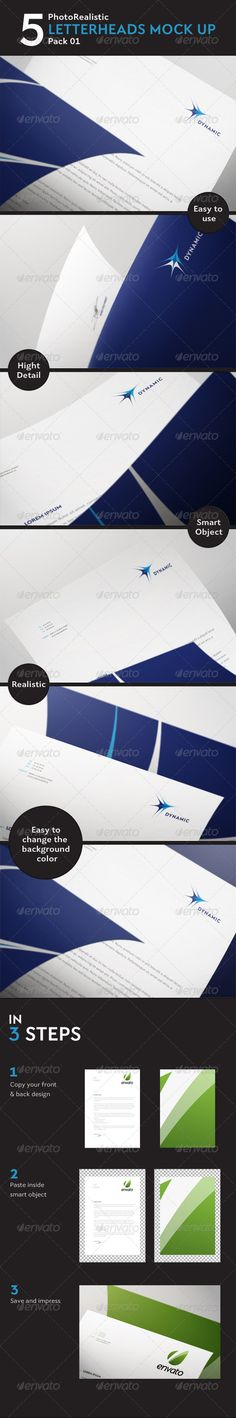 5 Photorealistic Letterhead Mock Up Pack 01  #GraphicRiver         This Mock Up offers you 5 differents perspectives and you can also use any type of paper texture that you like. You can easily change the color of the background. You can also use it for your artwork, flyer or poster.  Features   5 different perspectives  For A3, A4, A5  Photoshop files (.psd), Images files (.jpg) and Help File (.pdf)  Photo Realistic Mock-up with 2250×1500 pixels  Hight Resolution : 300 dpi  Easy editing via…