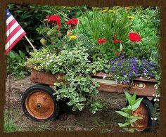 Put a wagon in my garden.
