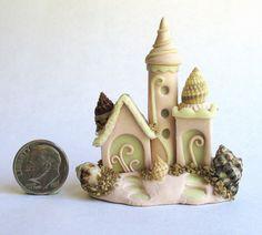 Handmade Miniature WHIMSICAL FAIRY SANDCASTLE THAT GLOWS - OOAK - by C. Rohal #CRohal