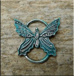 Butterfly Pendant or Buterfly Jewelry Connector, Verdigris Patina