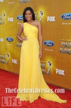 Keke Palmer Elegant Yellow One Shoulder  Evening Dress