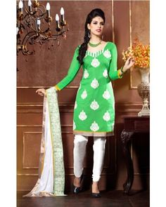 Green And White Chudidar Suit