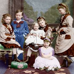 The children of Grand Duke Louis IV and Grand Duchess Alice of Hesse and by Rhine.  Princess Alix, later Czarina Alexandra of Russia, is in front sitting on the floor.
