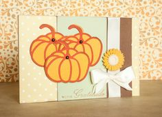 Thank You Card with Orange Paper Pumpkins by BeautyfromashesUSA, $5.00