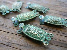 Green Patina Clasp  Oxidized Brass Clasp by BohemianGypsyCaravan
