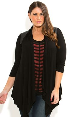 City Chic - VINYL SPLICE DRAPE CARDI - Women's plus size fashion