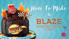 New Monster Truck Birthday Party Ideas Decoration Diy Cake Tutorial Ideas Blaze Birthday Cake, Digger Birthday Cake, One Year Birthday Cake, 4th Birthday Cakes, Birthday Parties, Birthday Ideas, Blaze And The Monster Machines Cake, Blaze Cakes, Tire Cake