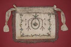 Woman's Indispensable or Pocket England, circa 1799 Costumes Silk satin with silk thread embroidery, silk ribbon and foil bullion appliqué, ...