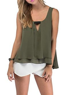 H-DY Women's Sweety Pleated Double Layer Chiffon Tank Top Green | Fashion Finds from Selena