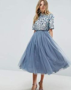 ASOS High Neck Embellished Crop Top Tulle Midi Dress #prom