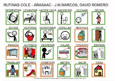 Tablero de Comunicación sobre las rutinas básicas para ir al cole con texto.