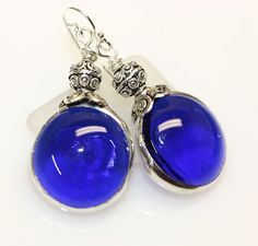 Colbalt Blue Gllass Gem Earrings by colorshoppestudio on Etsy, $15.00