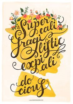 Life Quote: Mary Poppins Music Poster Supercalifragilisticexpialidocious Typography Print Disney Illustration Disney Poster Nursery Decor Wall Art