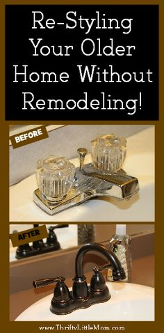 Re-Styling Your Home Without Remodeling.  Includes reduced cost paint, updating countertops, sinks, lighting and ceiling fans.  You can update your house without breaking the bank.  It just takes a few small changes to make your home feel like new!