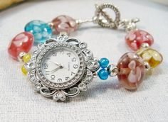 Silver Watch with Lamp Work Beads Beaded Watch Band by babbleon $25 Use coupon code PIN10 for 10% off