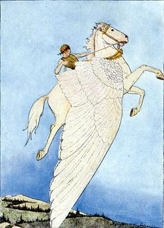 missfolly:    Bellerophon rides Pegasusto his task of slaying the Chimaera:'Yes, there he sat, on the back of the winged horse!',1914, byMary Hamilton Frye(from the book 'Myths Every Child Should Know', 1914,Hamilton WrightMabie(Editor)