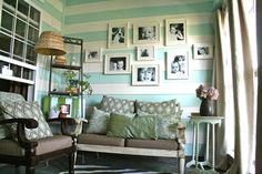 Yay for Stripes! If I ever get bored of my plain aqua walls, I could always accent a wall with white stripes.