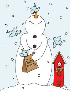 Free Dearie Dolls Digi Stamps: Snowman Birdie Feeder