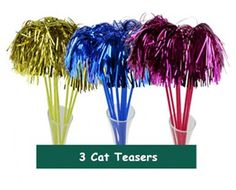 3 Cat Teasers Cheerleading Pom Poms Style with Soft Crinkle Streamers by ViviPet