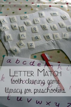 Letter match tooth cleaning game