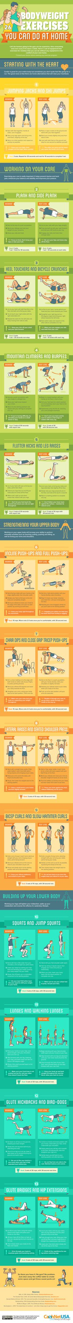 26 body weight exercises you can do at home #infographic #Health #Fitness #Exercise