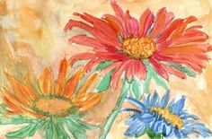 Cosmos and Marigolds for October note cards by TheMousersHouseArt, $4.00