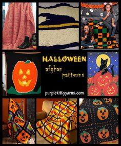 Nine crochet afghan patterns for Halloween.