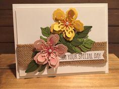 Stampin Up Botanical Blooms Birthday Wedding Engagement Floral Flowers Tropical Burlap Pearls Handmade Card