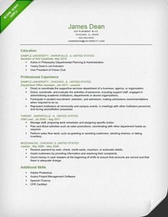Student Reverse Chronological Resume Sample