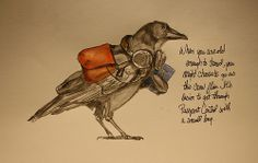 """Love this Traveling Raven....ready to go see the World with it's """"Knapsack on it's Back""""!! """"as this crow flies"""" by Rakka"""