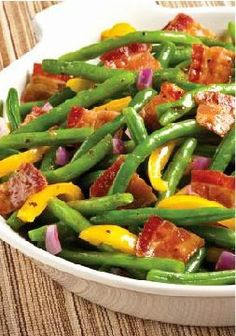 Bacon & Balsamic Green Beans -- There's only one thing that could make this fresh green bean and pepper salad with balsamic dressing better. That's right: bacon! Plus, it's ready for the dinner table in 20 minutes.