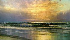 'küsten szene bei sonnenuntergang', öl auf leinwand von William Trost Richards (1833-1905, United States)